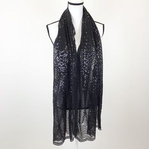 Cejon Accessories - Cejon Scarf Black Sequin Patterned
